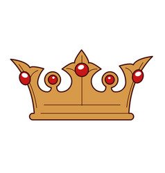 king gold crown inlaid with rubies isolated vector image