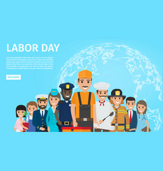 Labor day flat web banner with professions vector