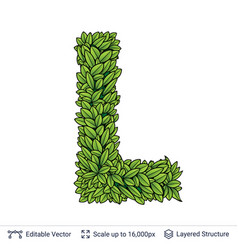 Letter l symbol of green leaves vector