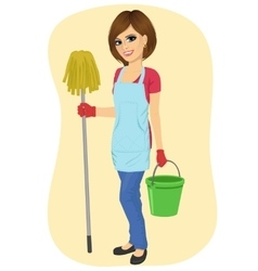 maid woman with bucket and mop smiling vector image