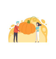 Man and woman holding a huge ripe pumpkin vector