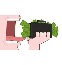 Man eating money destruction suitcase with cash vector