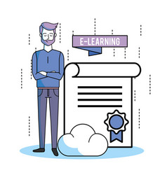 Man with elearnging education and study vector
