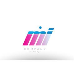 Mi m i alphabet letter combination pink blue bold vector