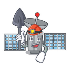 Miner satelite mascot cartoon style vector