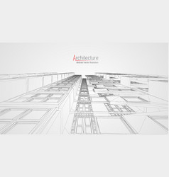 modern architecture wireframe concept urban vector image