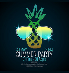 Modern poster summer party with a pineapple vector