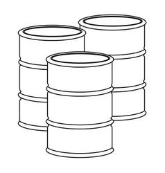 Monochrome contour with oil barrels vector