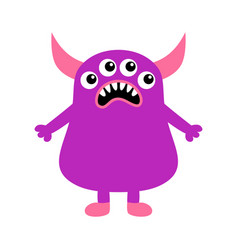 Monster icon happy halloween sad face head eyes vector
