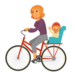 Mother rides bicycle with baby boy on special seat vector