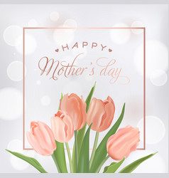 mothers day banner template with tulips flowers vector image