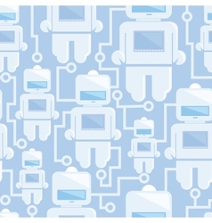 Network of robots seamless pattern background vector image