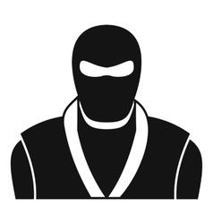 Ninja in black mask icon simple style vector