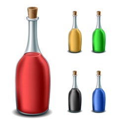 Old bottle set with different liquids vector image