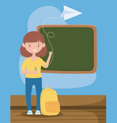 Online education teacher with backpack pen and vector