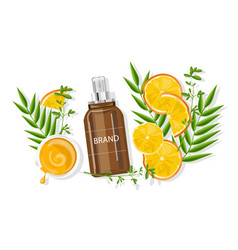 Orange essential spray bottle vector