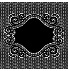 ornament frame on metal textur vector image