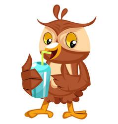 Owl drinking soda on white background vector