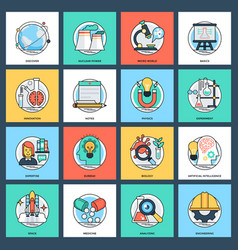 Pack of science and technology flat icons vector