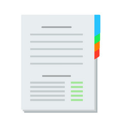 paper sheet with page dividers icon flat isolated vector image