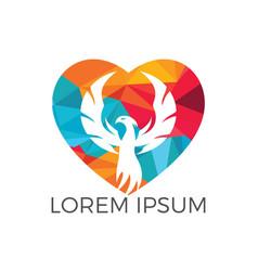 phoenix heart logo design vector image