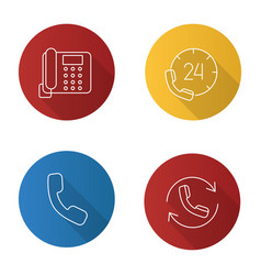 Phone communication flat linear long shadow icons vector