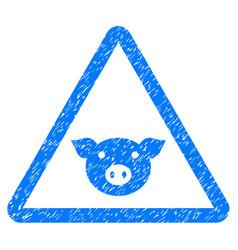 Pig warning icon grunge watermark vector