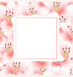 Pink lily flower banner card vector