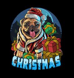 Pug dog wearing santa claus hat in gift vector