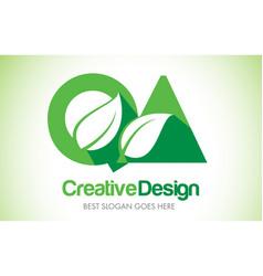 qa green leaf letter design logo eco bio leaf vector image