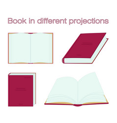 red book in different projections open vector image