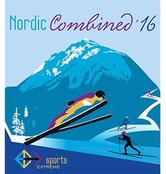 Retro poster nordic combined in the mountains vector