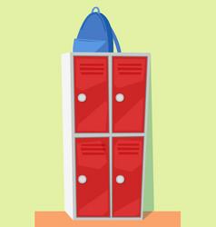 Rucksack on locker backpack and storage vector