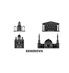 Russia kemerovo flat travel skyline set russia vector