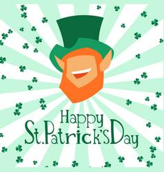 saint patricks day greeting card with leprechaun vector image