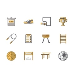 School sports equipment flat color icons vector
