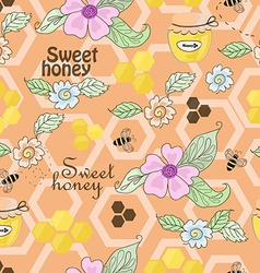 seamless pattern of bees honey and flowers vector image