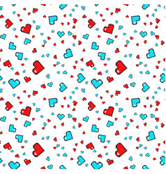 seamless pattern with pixel hearts valentines day vector image