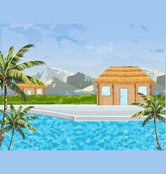 seaside houses summer background tropic paradise vector image
