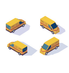 set mail car for delivery mail and parcels vector image