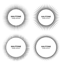 Set of Black Abstract Halftone Circle Frames vector