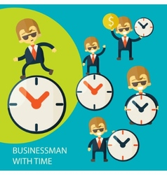 Set of businessman and clock vector image