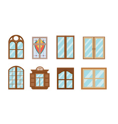 set of windows different shapesmaterials and vector image
