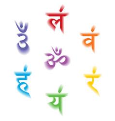 Seven bija mantras with 3d chakras set sanskrit vector