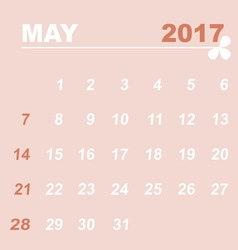 Simple calendar template of may 2017 vector image