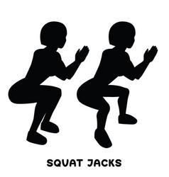 squat jacks squat sport exersice silhouettes of vector image