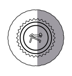 sticker of monochrome circular frame with contour vector image