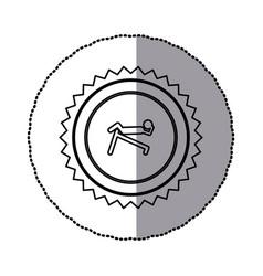 Sticker of monochrome circular frame with contour vector