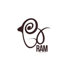 Stylized ram sheep lamb outline graphic logo vector