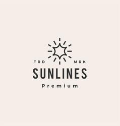 sun line hipster vintage logo icon vector image